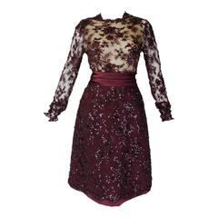 John Anthony Ruby Floral Lace Cocktail Dress with Rhinestone Details
