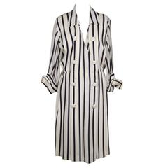 ANDREA ODICINI Italian Authentic VINTAGE White & Navy Striped SHIRT DRESS Sz 46