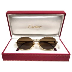 New Vintage Cartier Oval St Honore Gold 51mm 18k Plated Sunglasses France