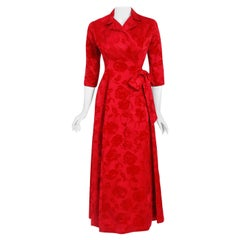 Vintage 1962 Juel Park of Beverly Hills Red Roses Flocked Satin Dressing Gown