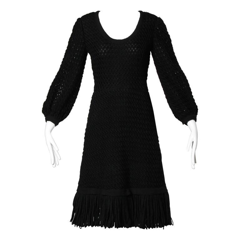 Cardinali 1960s Vintage Black Wool + Silk Couture Crochet Dress with Fringe Trim