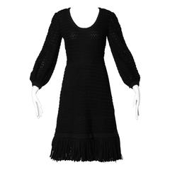 Cardinali Black Wool and Silk Couture Crochet Dress with Fringe Trim, 1960s