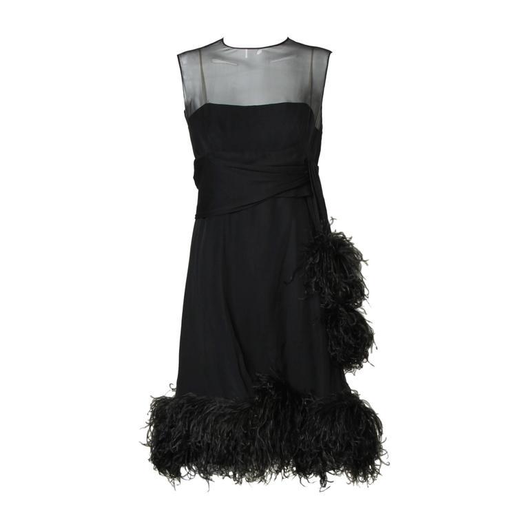Pat Sandler Vintage 1960s Black Silk Chiffon Dress with Ostrich Feather Trim