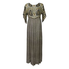 Vintage 1970s Bergdorf Goodman India Silk Maxi Dress