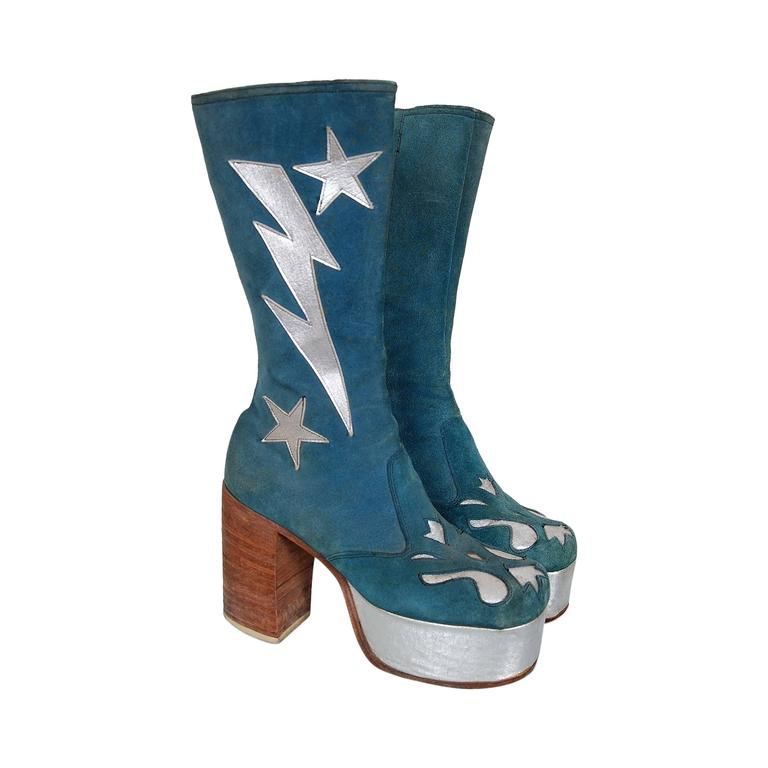 1970's Turquoise-Blue Suede & Silver Leather Novelty Glam-Rock Platform Boots 1