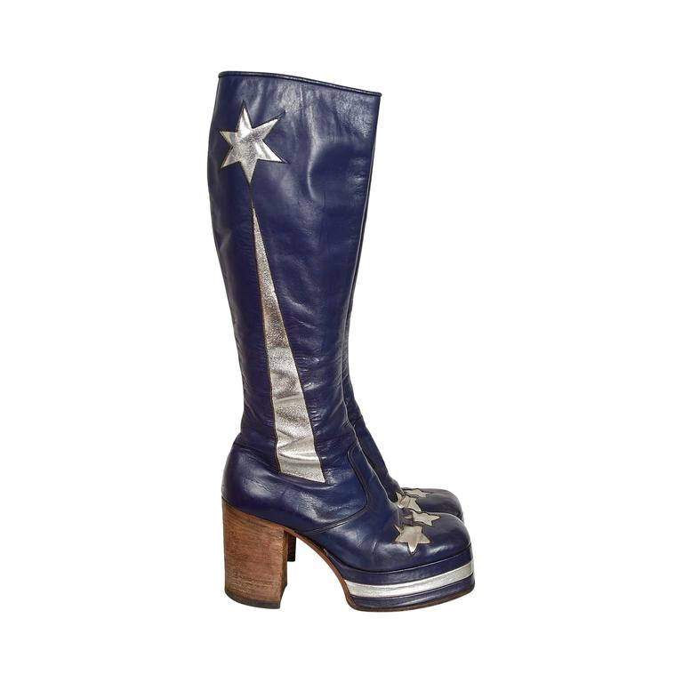 1970's Purple & Silver Leather Novelty Stars Knee-High Platform Glam-Rock Boots 1