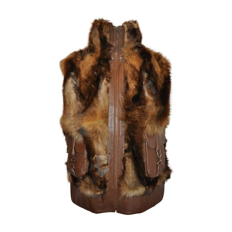 High-Collar Zippered Fur Vest Accented with Brown Leather