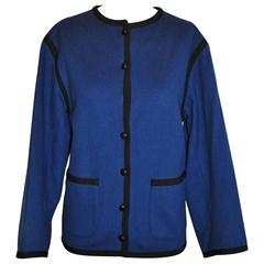"Yves Saint Laurent Iconic ""Russian Collection"" Brushed Navy Jacket"