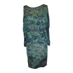 "La Perla ""Peacock Feathers"" Two-Way Pullover Silk Jersey Tapered Dress"