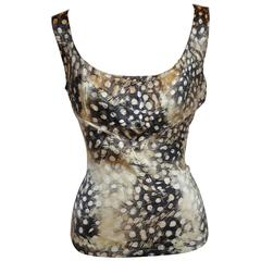 Roberto Cavalli Multi-Print Form-Fitting Silk Top