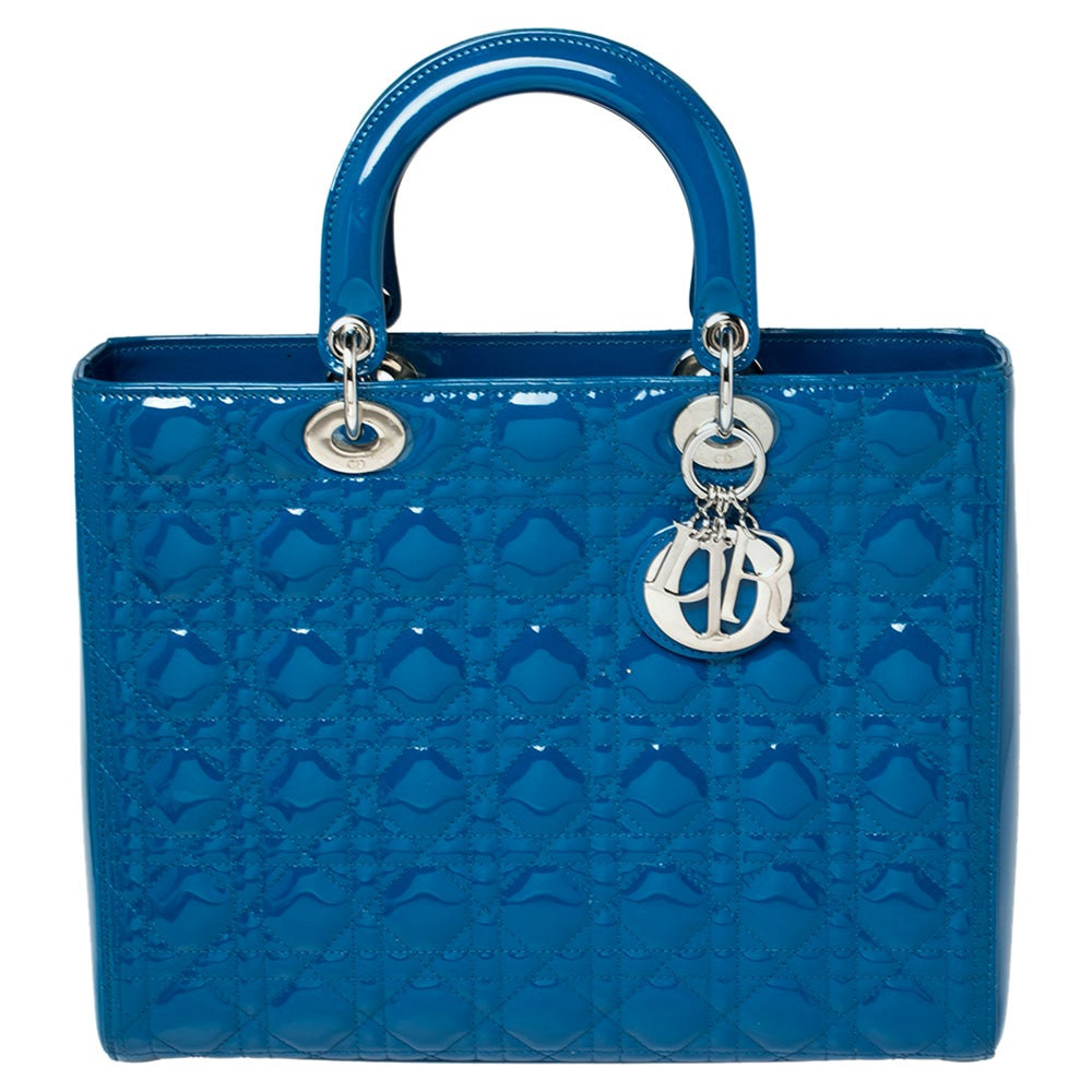 Dior Persian Blue Cannage Patent Leather Large Lady Dior Tote