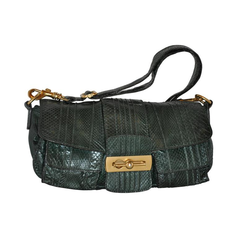 Escada Forest Green Lizard Skin Shoulder Bag with Removable Straps