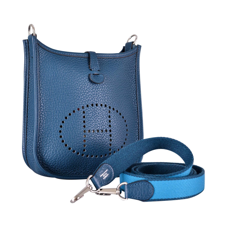 birkin handbag replica - HERMES EVELYNE 16 TPM MINI COLVERT / TURQUOISE W AMAZONE STRAP ...