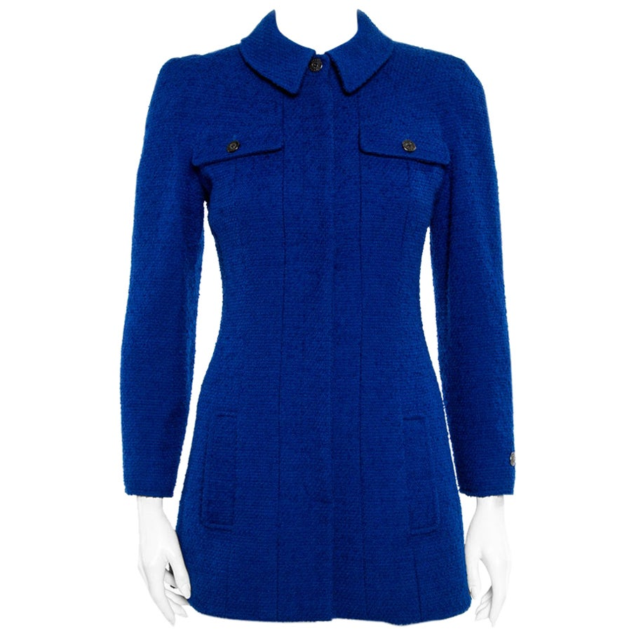 Chanel Vintage Blue Tweed Button Front Long Jacket S