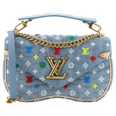 Louis Vuitton New Wave Chain Bag Monogram Embroidered Quilted Denim MM