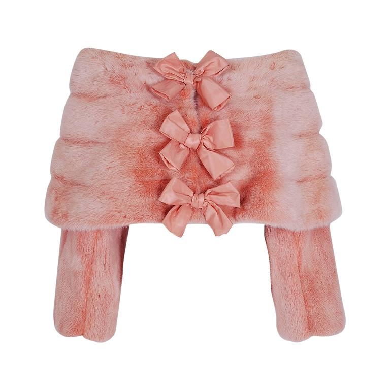 1990's Arnold Scaasi Couture Pink Mink-Fur & Silk Bows Cropped Bolero Jacket For Sale