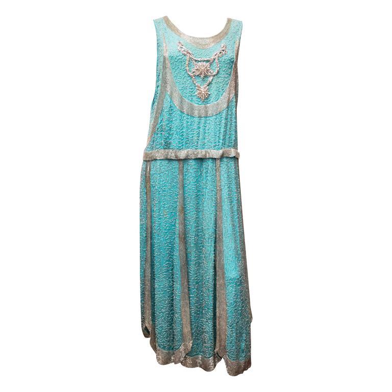 1920s Beaded Aqua Flapper Dress 1