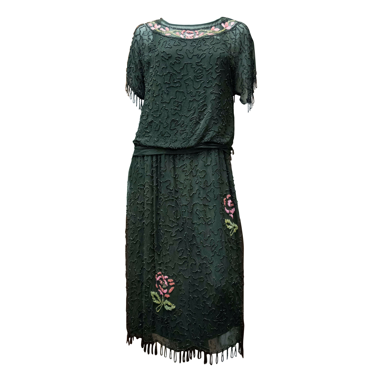 1920s Black Beaded Flapper Dress