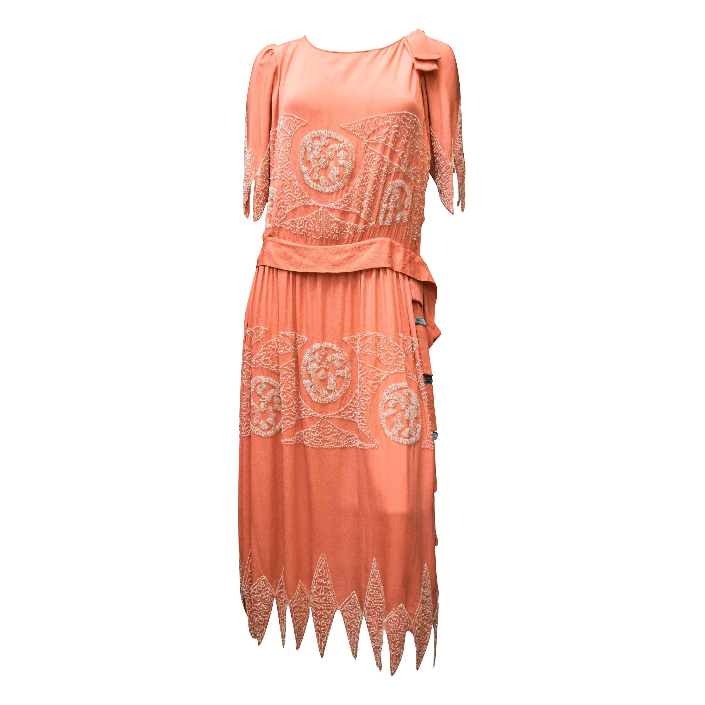 1920s Pink Beaded Flapper Dress