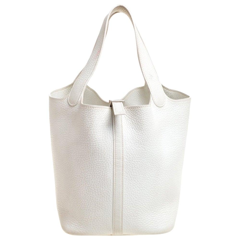 Hermes White Togo Leather Picotin MM Bag