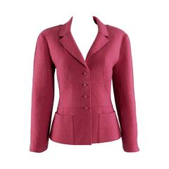 Chanel 99A Rose Boiled Wool Jacket