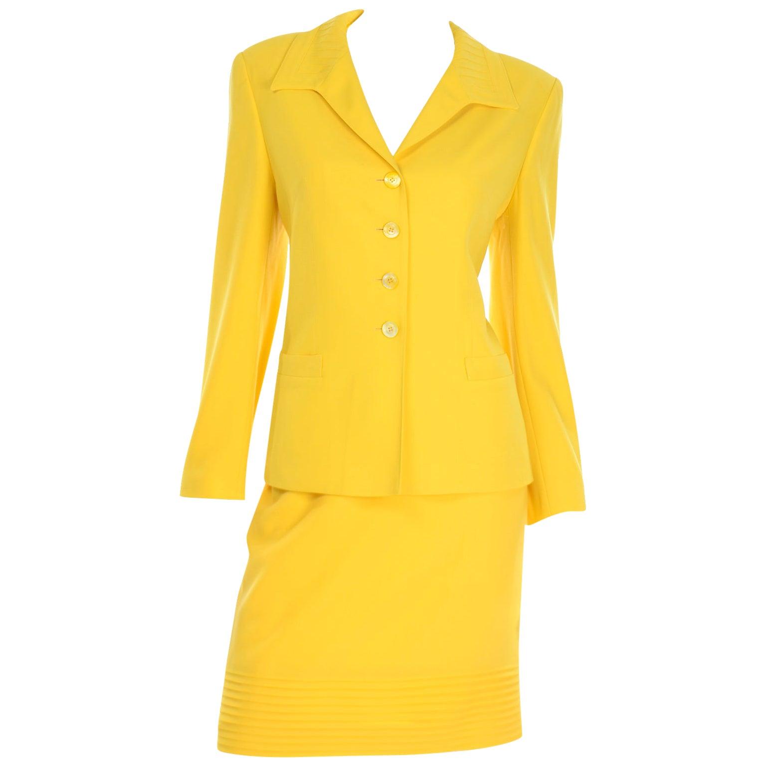 Vintage Yellow Escada Margaretha Ley Skirt & Jacket Suit