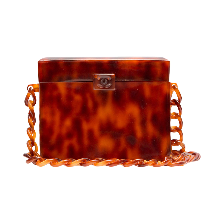 6140c2c901cbb1 RARE Chanel Vintage Tortoiseshell Plexiglass Box Bag at 1stdibs