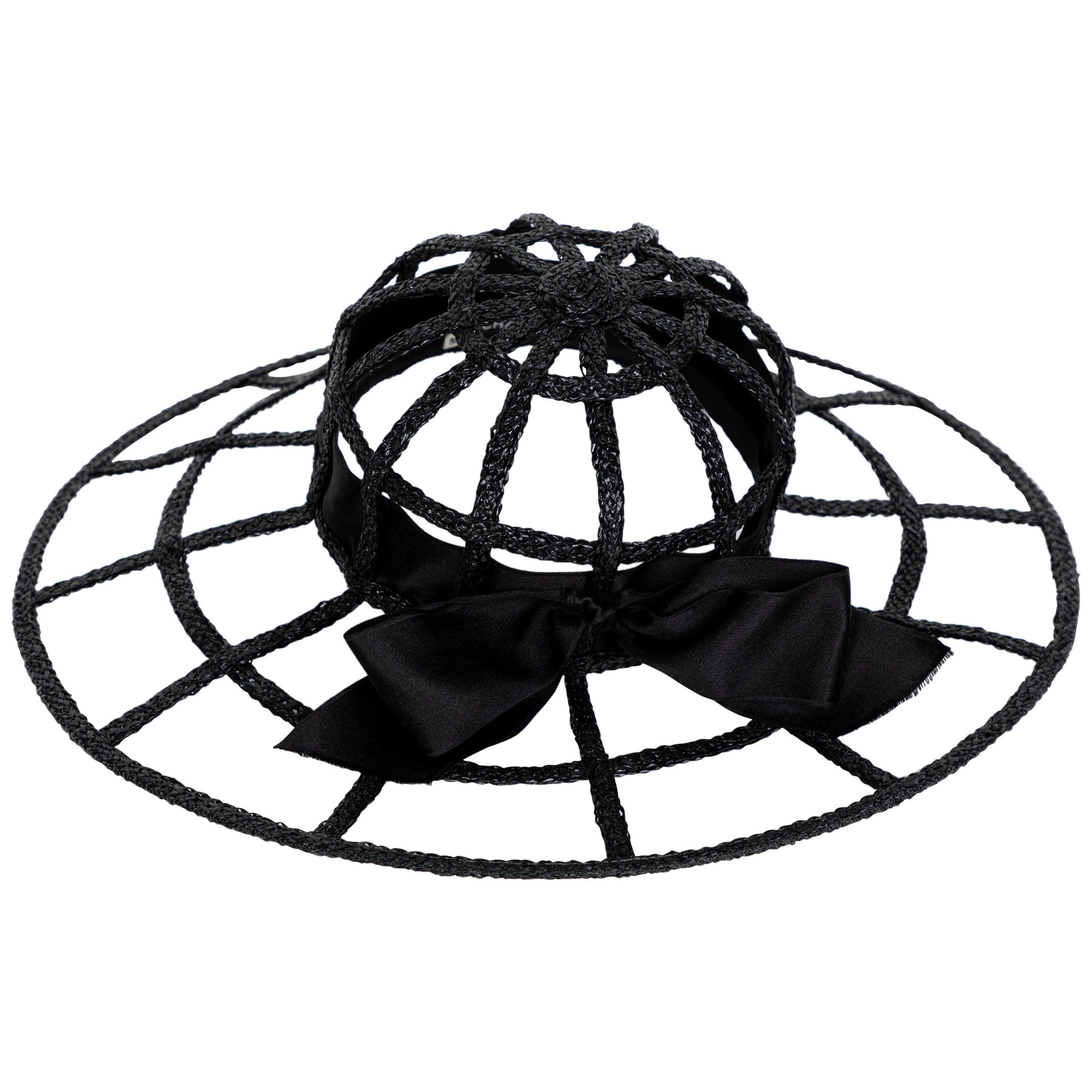 Chanel Collectors Black Silk Bow Hat Runway 1992