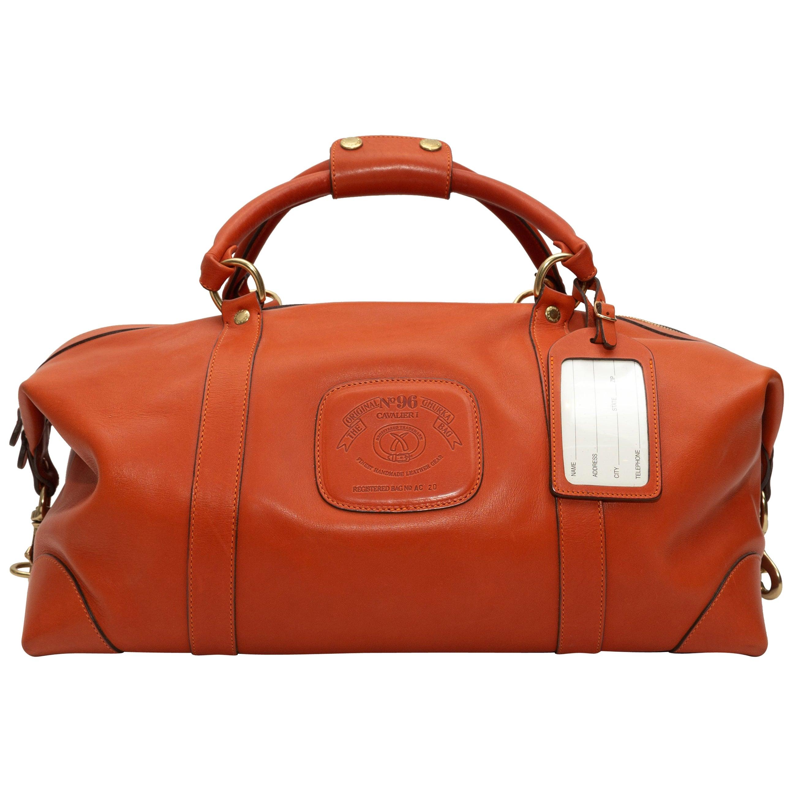 Ghurka Orange Leather No. 96 Cavalier Duffel Bag