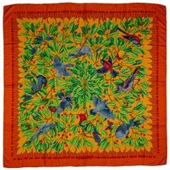 Hermes Orange Blue Birds Cashmere Shawl