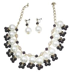 Runway Large Pearl And Grape Colored Beads Bib And Earrings Set