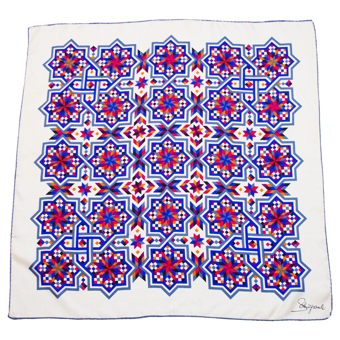 1980s Schiaparelli Geometric Star Print Silk Scarf