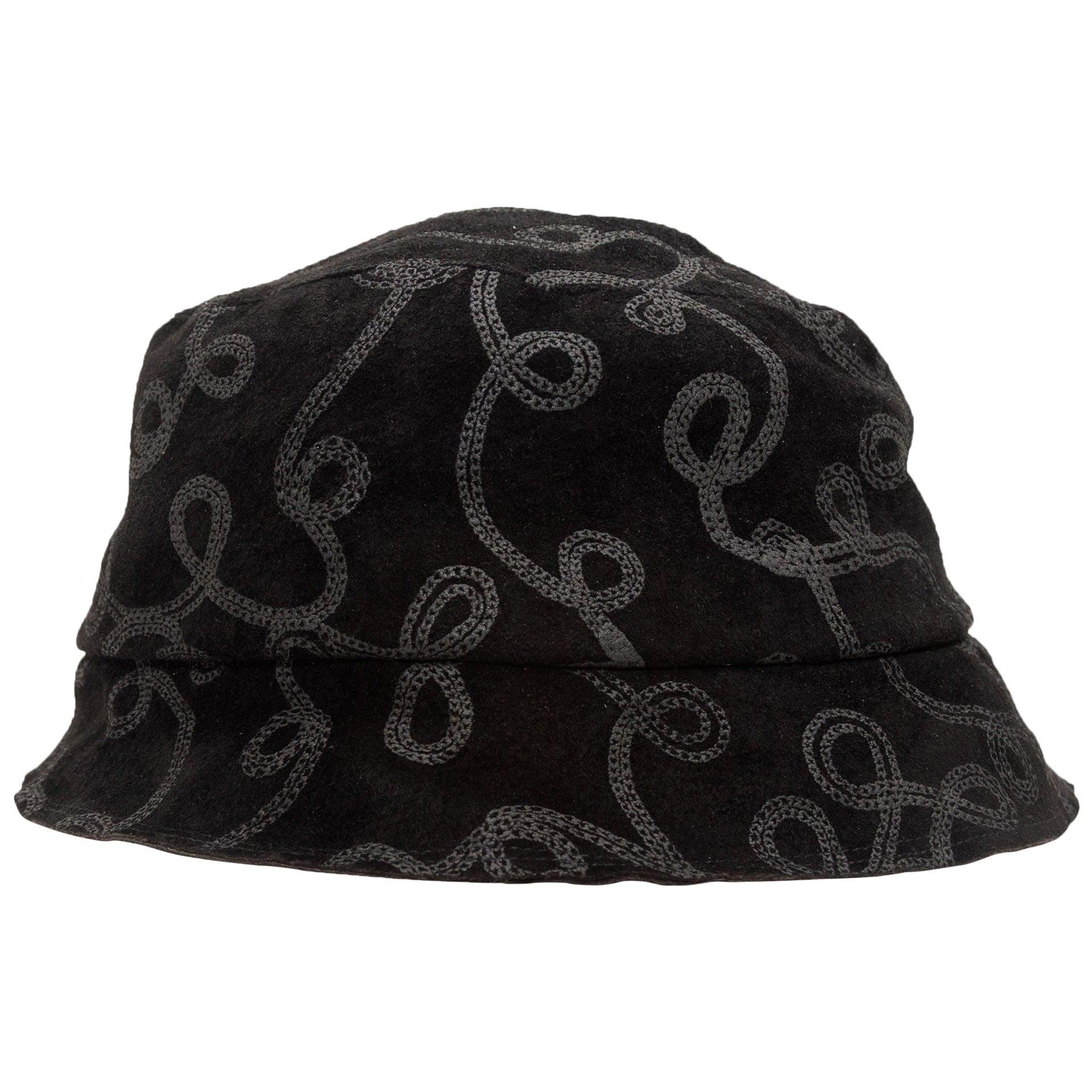 Patricia Underwood Black Patterned Bucket Hat