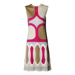 1970s Signed Paganne by Gene Berk Vintage Op Art Graphic Mod Print Dress