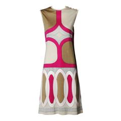 1970s Signed Paganne by Gene Berk Vintage Op Art Graphic Mod Print Dress