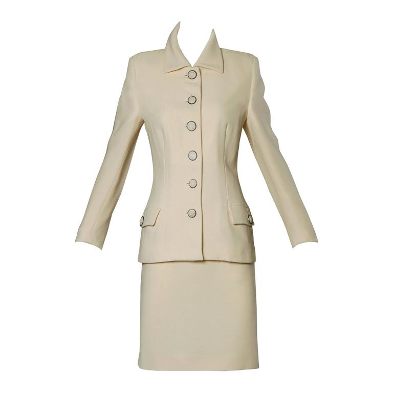Gianni Versace Couture Vintage 90s Wool Jacket + Skirt Suit with Medusa Buttons For Sale