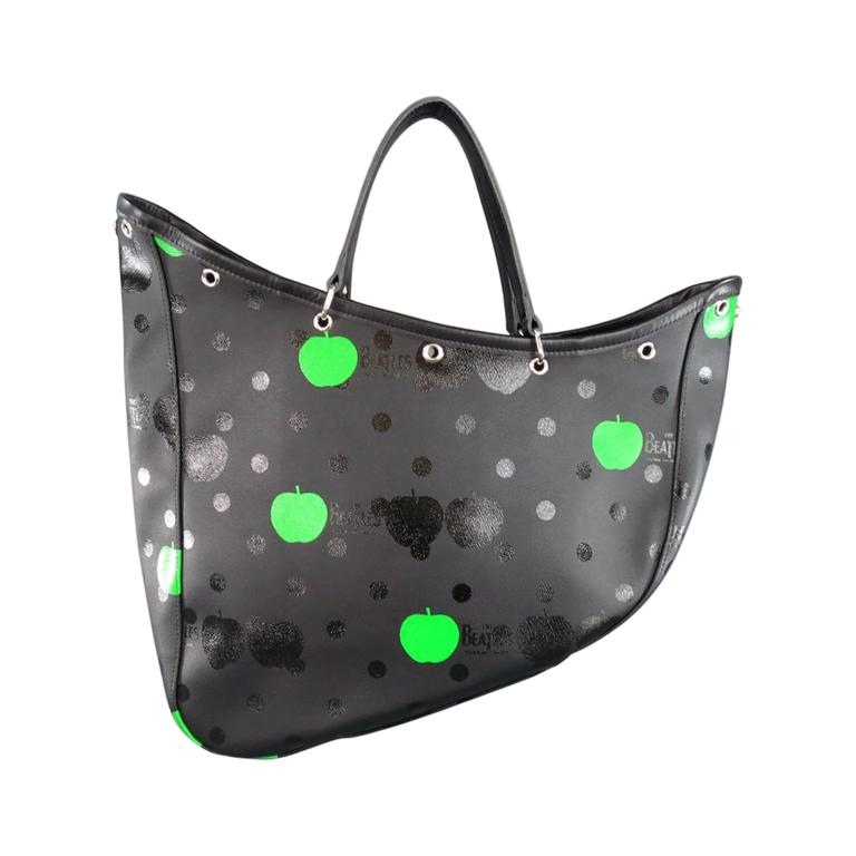 3f5f73084f12 COMME des GARCONS x THE BEATLES Black Polka Dot   Green Apple Canvas Tote  Bag For
