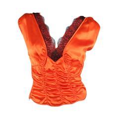 PRADA Size 4 Orange Ruched Silk Black Lace V Neck Dress Top
