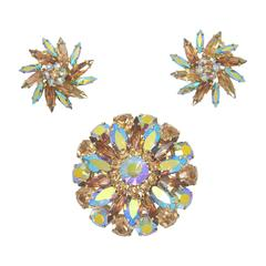 Signed 1950s Sherman Aurora Borealis Coated Brooch and Earring