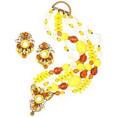 1950s Eugene Schultz Yellow Glass Beads and Rhinestone Demi Parur