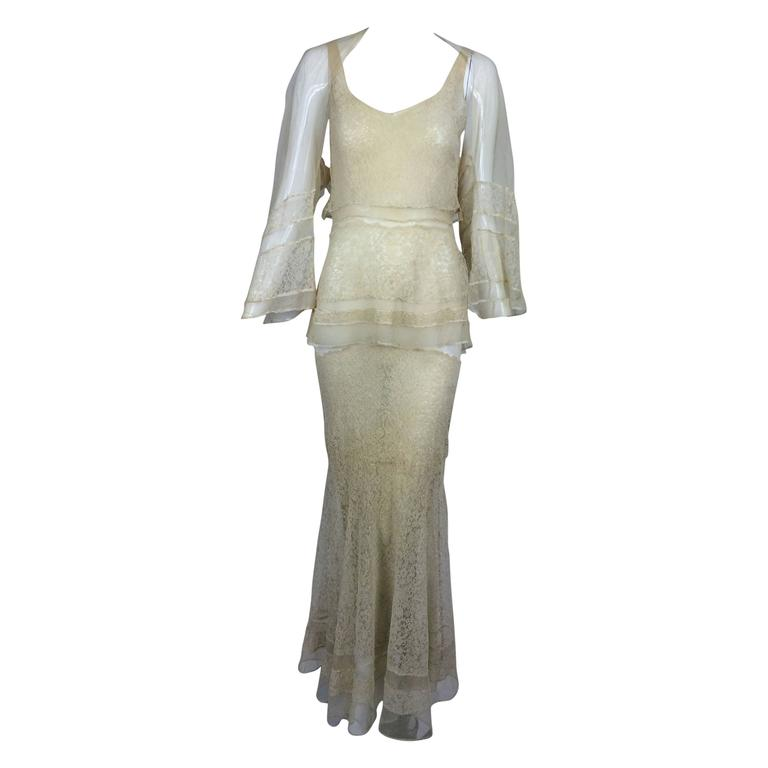 1930s champagne lace & silk bias cut tiered wedding dress & shrug