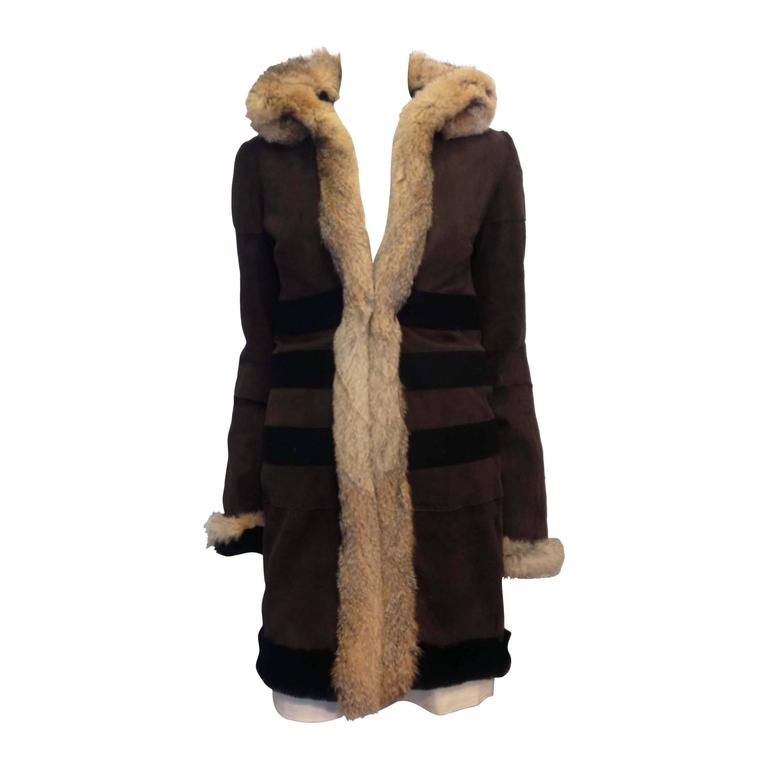Balenciaga Brown Suede Coat with Fur Trim For Sale