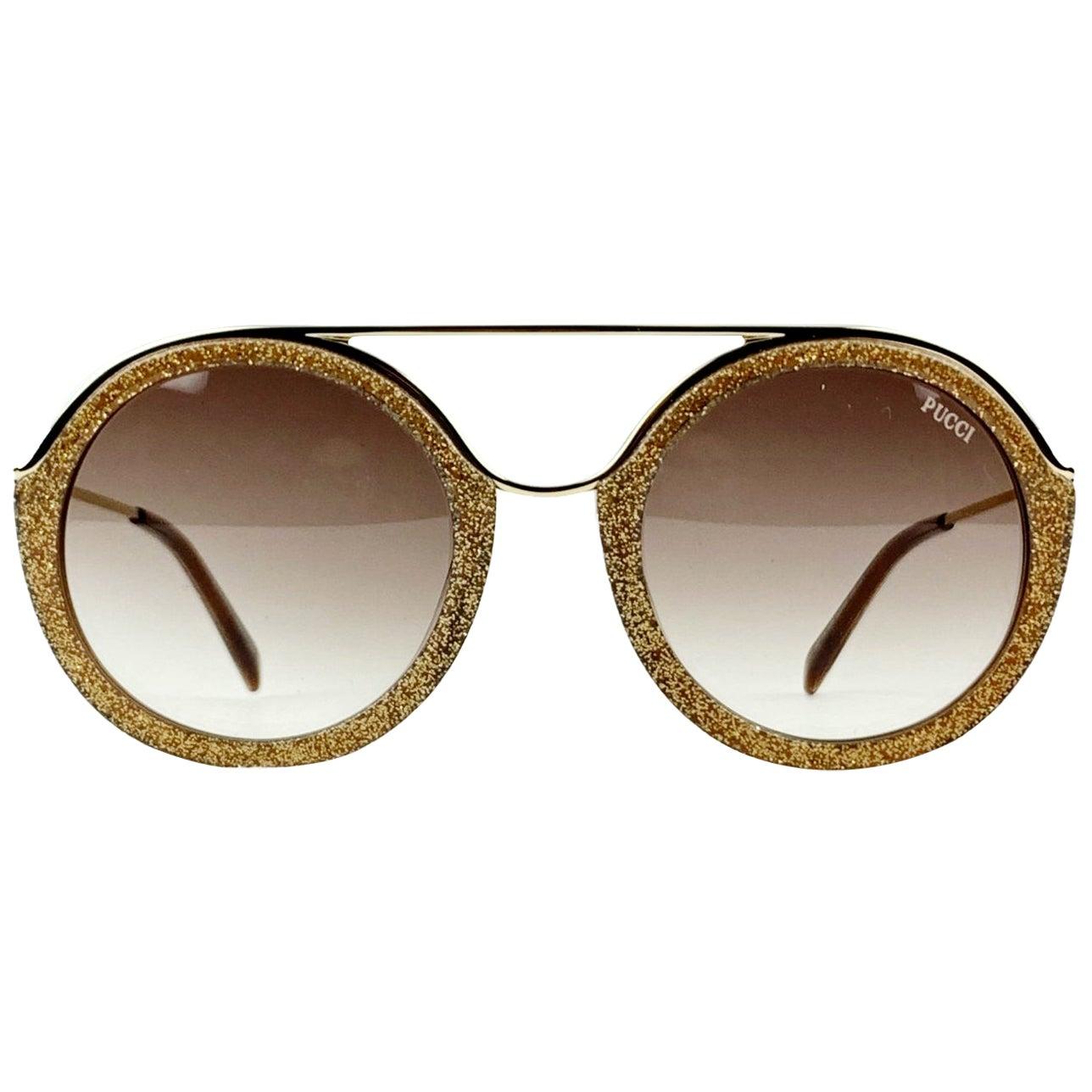 Emilio Pucci Gold Round Glitter EP 13 Sunglassses 52/22 135 mm Mint