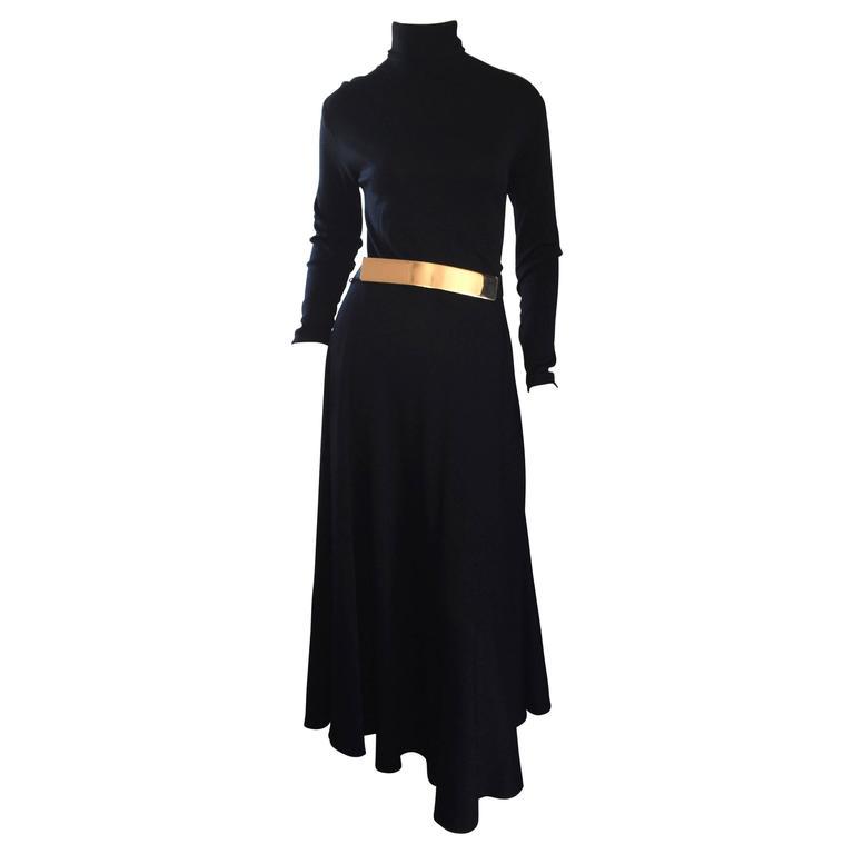 Vintage Ralph Lauren Early 90s Black Wool Turtleneck Dress Gold