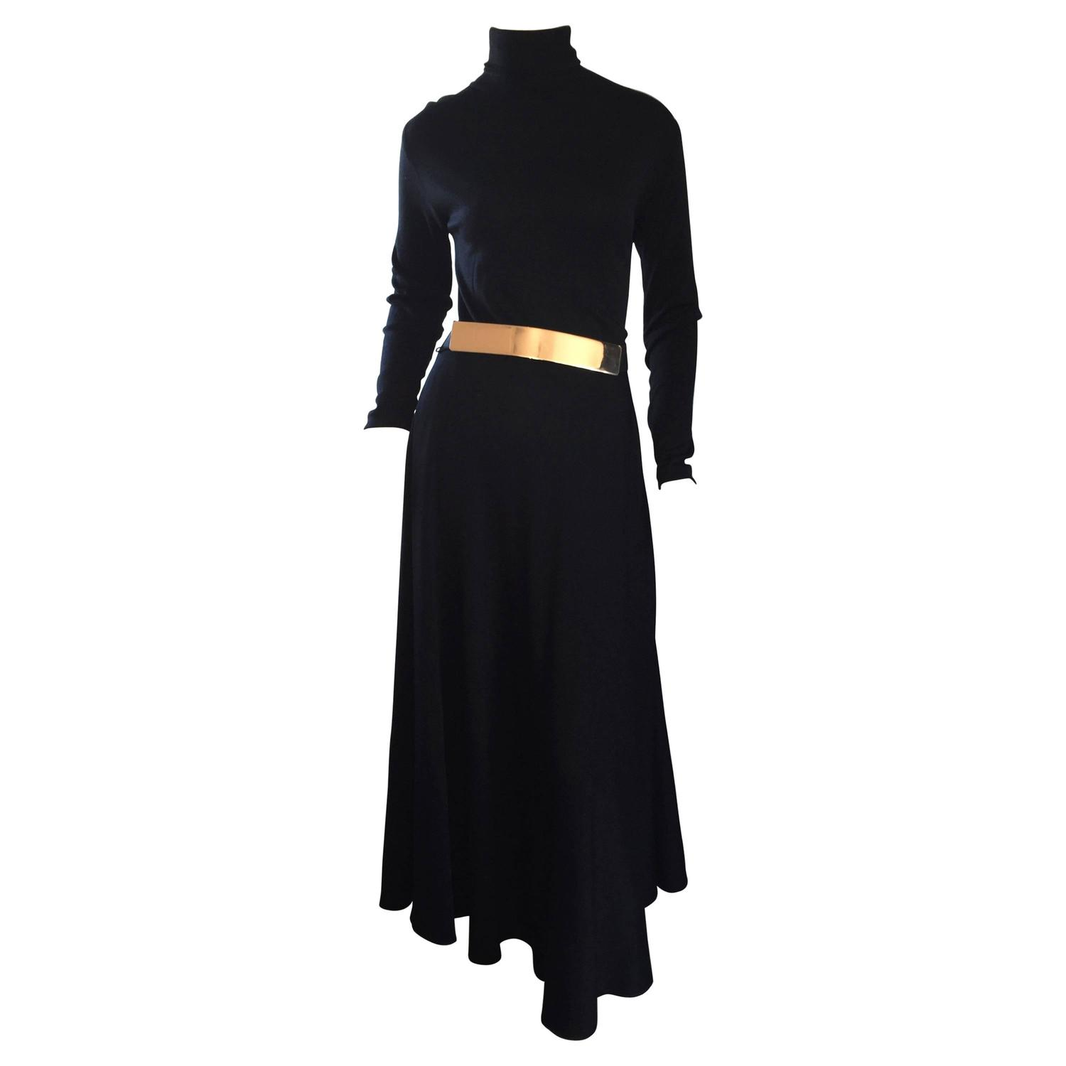 Vintage Ralph Lauren Early 90s Black Wool Turtleneck Dress + Gold Disc Belt