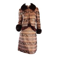 Amazing Early Adele Simpson 1960s 60s Metallic Brocade Dress & Mink Fur Jacket