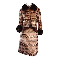 Amazing Early Adele Simpson 1960s 60s Metallic Brocade Dress & Mink Fur Jacket