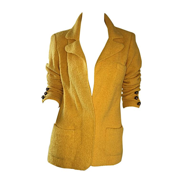 Vintage Adolfo 1970s Mustard Yellow Knit Blazer 70s Fitted Sweater Jacket  For Sale