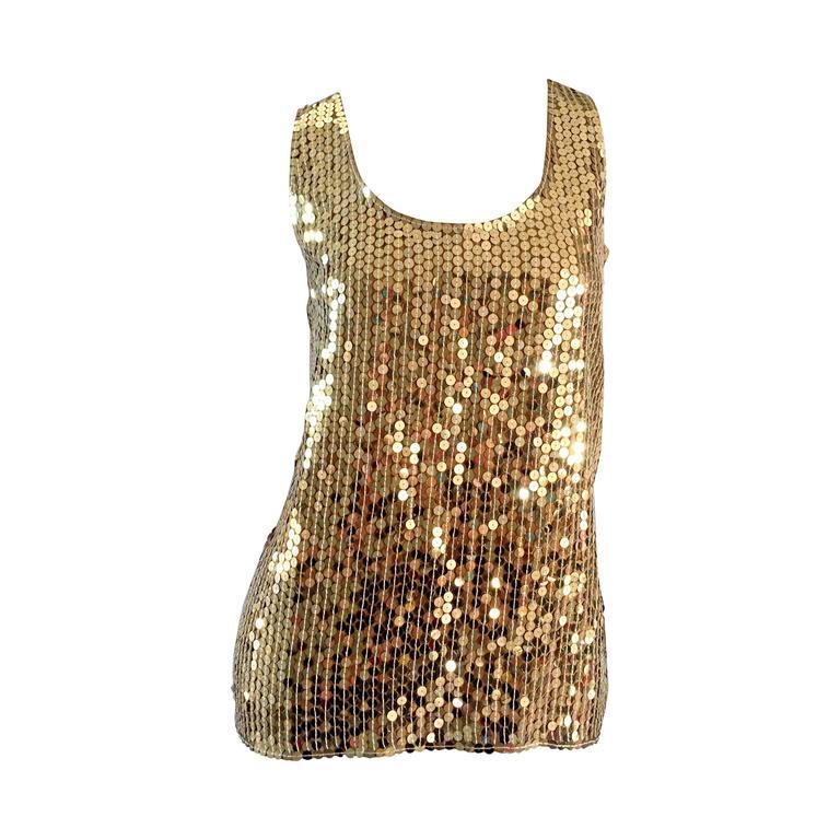 Vintage Oleg Cassini Gold Sequin Silk Blouse / Shirt  1