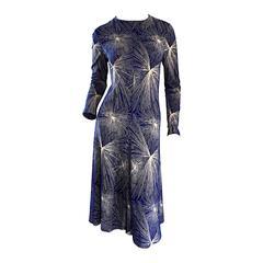 Important Vintage 70s Diane Von Furstenberg ' Fireworks ' Blue + White Dress DVF